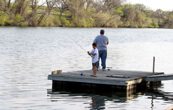 Fishing off the dock at Shady Oaks RV